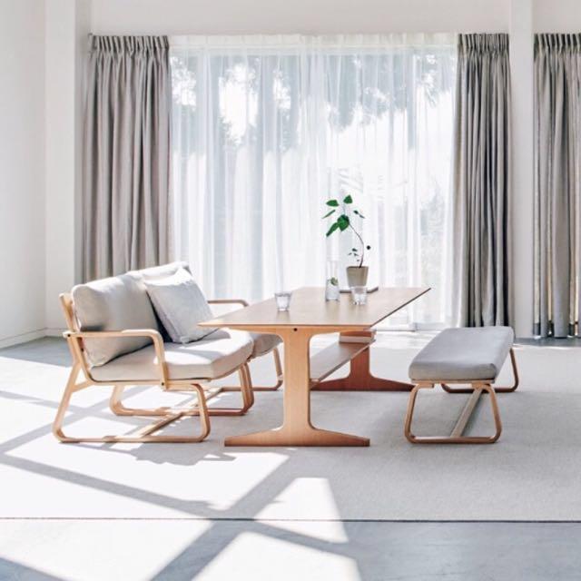 Price Reduced Muji Oak Wood Living Dining Set Furniture
