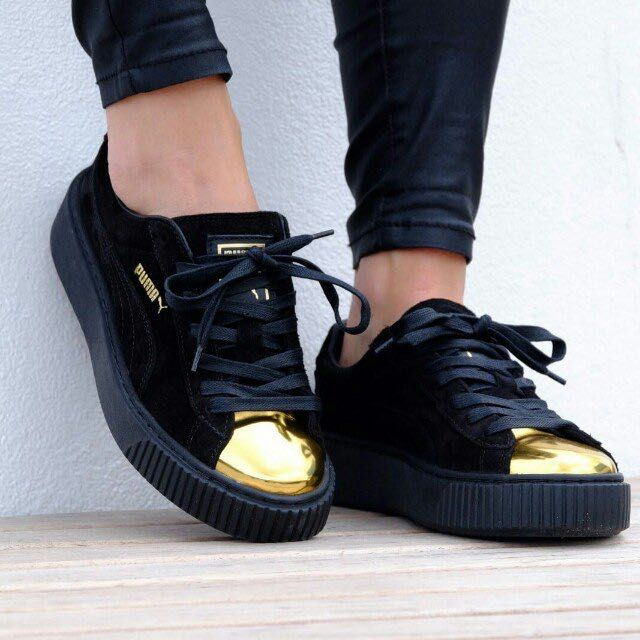 cb354ce9b0b Puma Suede Platform Sneakers with Gold Toe Cap Fenty  Huat50sale ...