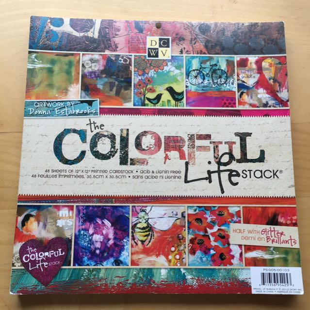 Scrapbooking Paper 'The Colourful Life' Stack and Stickers
