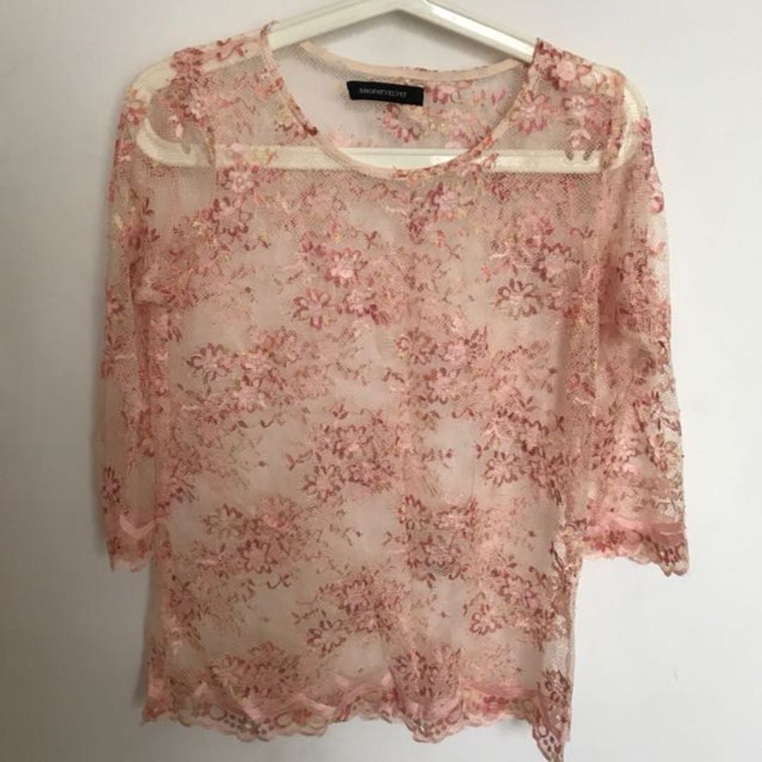 SHOPATVELVET Lace Pink Top