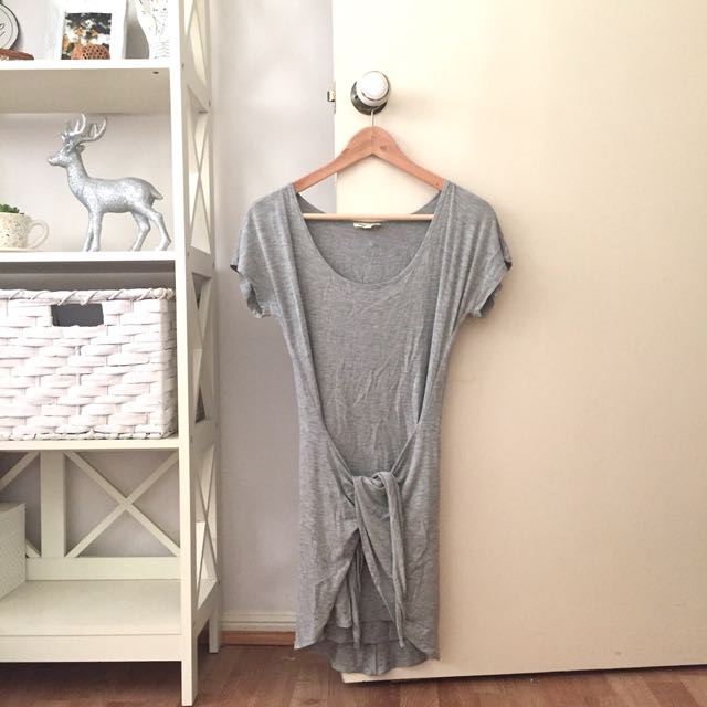 Silence + Noise Grey Tie Up Dress