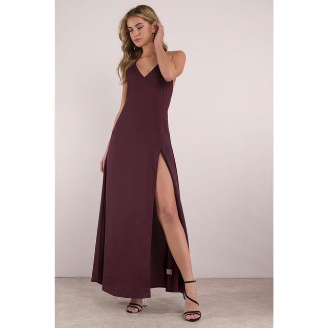 Tobi Selena Slit Maxi Dress in Wine (Authentic) a842e2d42