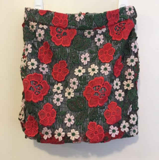 Top Shop Rose Gingham Skirt ( Size 8)