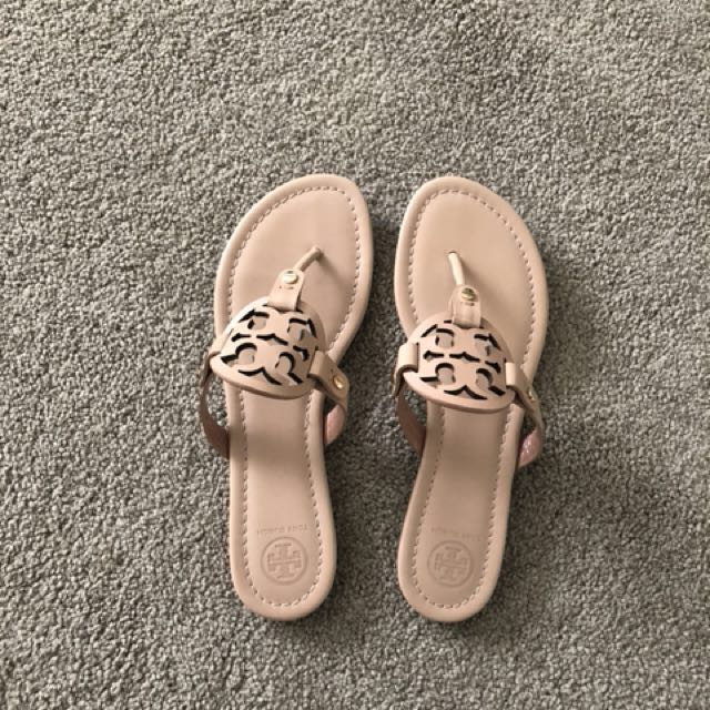 Tory Burch Nude Leather Miller Sandal