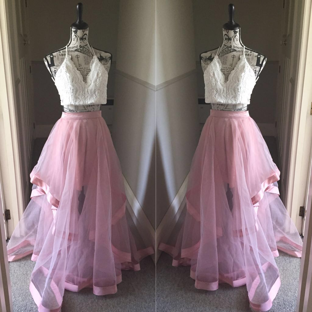 Two piece custom made ball gown