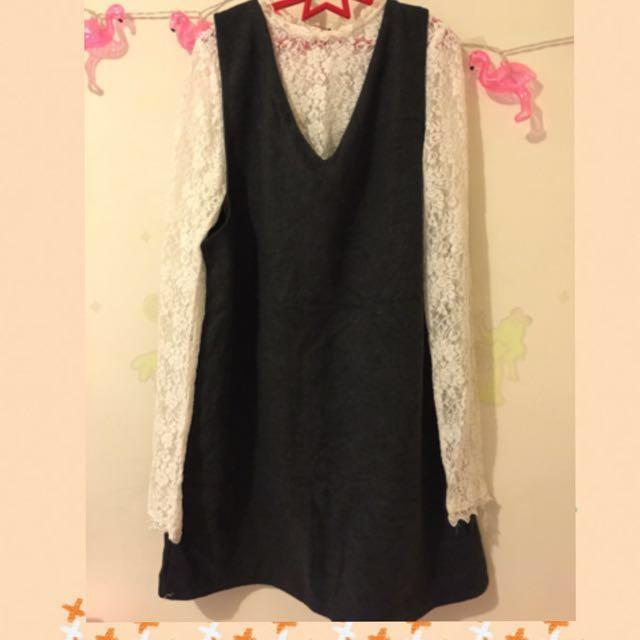 蕾絲V領洋裝兩件式