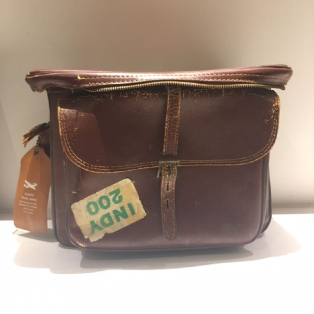 Vintage leather camera bag satchel