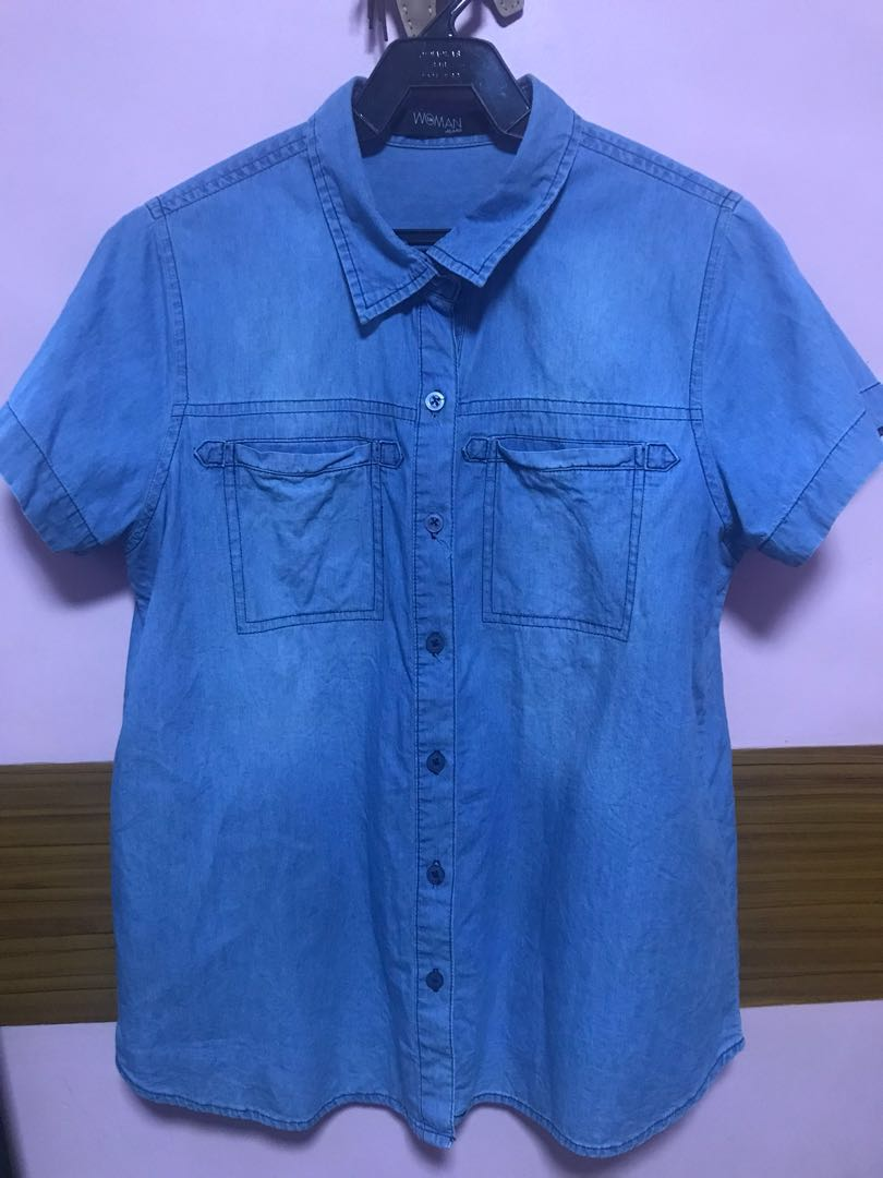woman soft denim polo