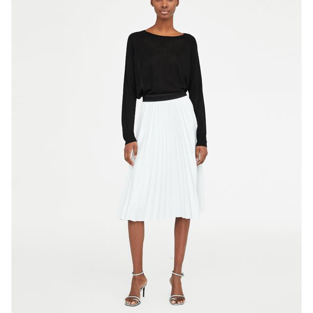 Zara Faux Leather Pleated Skirt Womens Fashion Clothes Dresses