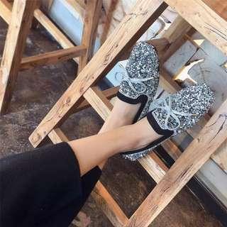 (36~40) 2018 spring new Korean fashion sequins rhinestone square bow knot women flat flat Peas shoes tide