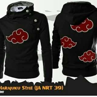 Jaket Anime Naruto Akatsuki Harajuku Style Black Hoodie-Best Seller
