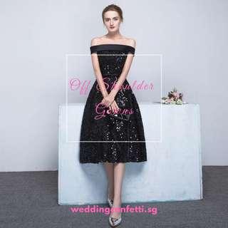 Off Shoulder Black Dress Gown