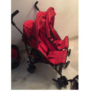 Halford Fliplite Twin Stroller with FOC Car Seat