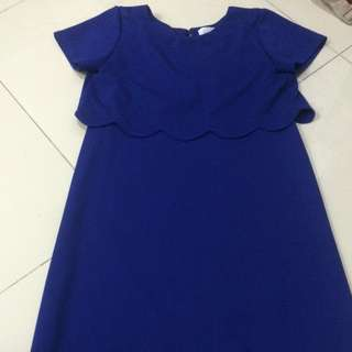 Royal blue Nursing Scallop back dress