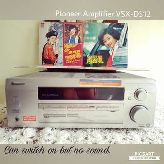 PIONEER Amplifier VSX-D512 offer! Records are separate item and not inlcuded. Sms 96337309. Selling as non-working display or for parts, can switch on but no sound. $35 offer, sms 96337309.