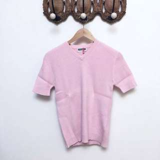 🚚 GIORDANO 粉色短袖針織上衣