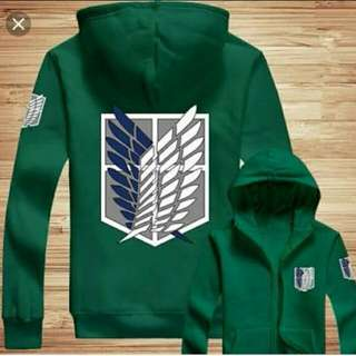 Jaket Anime Attack On Titan Green Hoodie-Best Seller