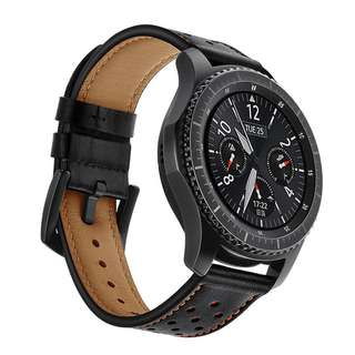 Strap Samsung Gear S3 Genuine Leather Watch Band Tour Leather Black 22mm