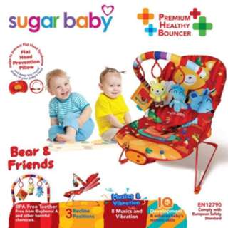 Sugar baby Bouncer 3 recline bear & friends
