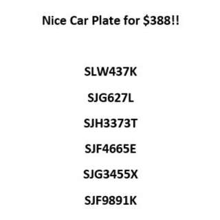 Nice Car Plate for $388!!