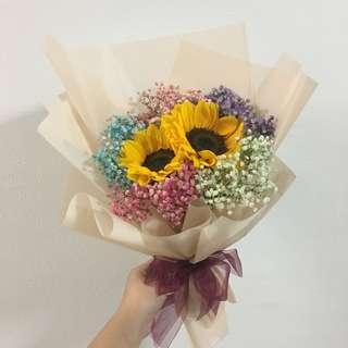 Sunflower Bouquet with Rainbow Baby Breath