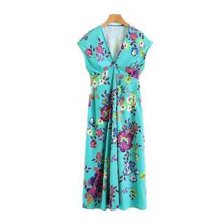 European and American style V-neck flower printing single breasted dress