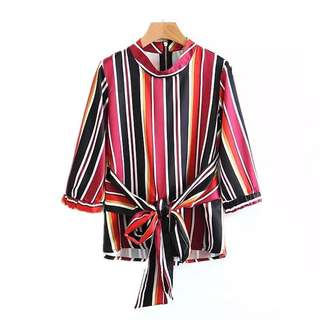 European and American style vertical stripe printing was thin wrap blouse