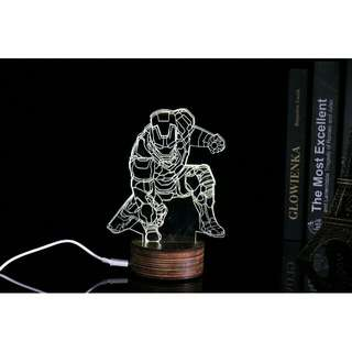 Lampu 3D LED Transparan Design Iron Man - White