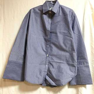二手衣物 韓國 stylenanda 藍色 條紋 寬袖 襯衫