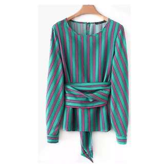 European and American style vertical stripes printed round neck waist bow tie long-sleeved shirt