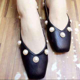 korean nice pearls flat shoes