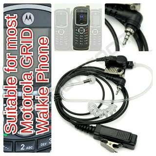 Motorola TRS / Hybrid Walkie & SIM GRID network (iDEN) Phone Air Tube Earpiece. 2.5mm Jack With Ring. Suitable For Most Motorola GRID SIM Based Island Wide Walkie Phone