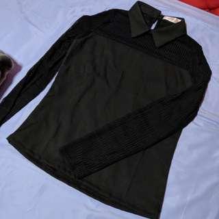 Black Collar Blouse Top
