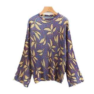 Plus Size European and American style flower print round collar loose hedging long-sleeved shirt blouse