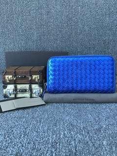 Bottega Veneta 電光藍純皮編織銀包 錢夾錢包