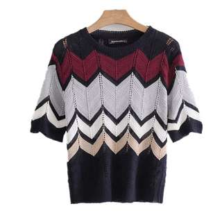 European style spell color flower knitted colorful round neck short-sleeved knit blouse