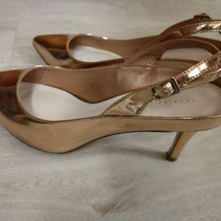 Charles & Keith Shiny Gold Shoes