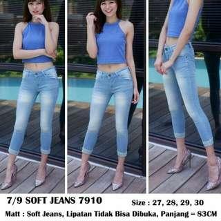 Celana jeans wanita soft jeans 7910 jeans lipat jeans polos blue jeans