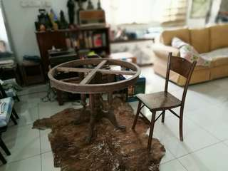 Antique Wooden Dining Table with 4 Chairs