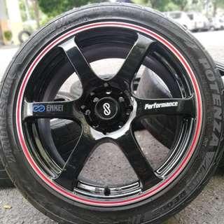 Enkei performance 17 inch sports rim persona tyre 70%. Makan maggie kuah tempoyak, ini rim you pakai confirm gempak!!!!