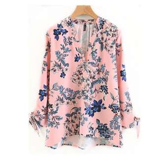 European and American style V-neck flower drop sleeve bow bow tie shirt