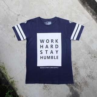 Navy T-shirt Work Hard Stay Humble by Morrys