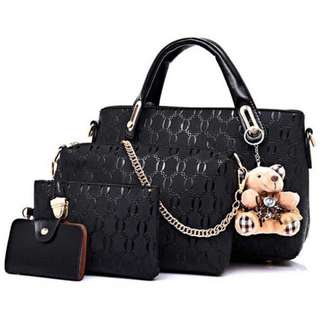Tas fashion wanita 4 in 1 (ready black)
