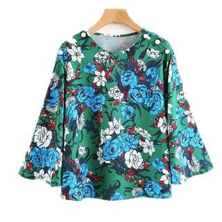 European and American style flower print round neck horn sleeve head models long-sleeved shirt