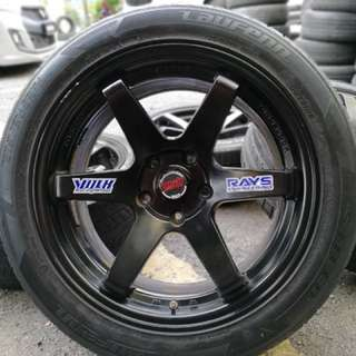 Te37sl 17 inch sport rim lancer gt tyre 70%. Makan limau rasa mangga, brother ini rim you pakai you confirm bangga!!!!
