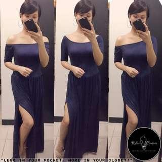 (REG/PLUS SIZE) Dahlia 3-Way Long Dress NAVY BLUE