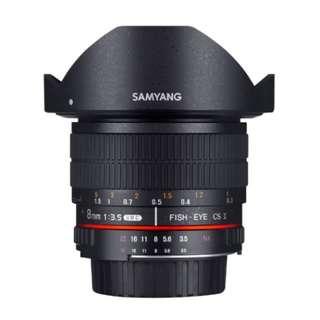 BNIB Samyang 8mm f3.5 Fisheye Wide Angle for Nikon AE (Detachable Hood)