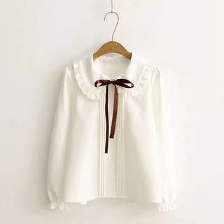 2018 spring new bow lace shirt women's wood ear doll collar wild paragraph white shirt
