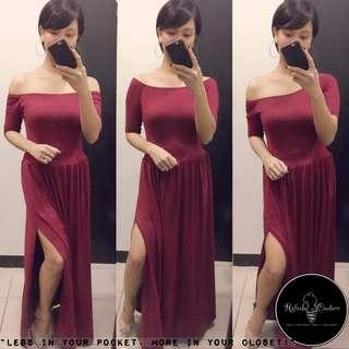 (REG/PLUS SIZE) Dahlia 3-Way Long Dress BURGUNDY