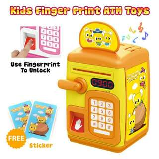 FREE POS Ready Stock Fingerprint Yellow Electric Lock ATM Bank Money Saving Cash Coin Toy Box